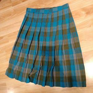 Blue vintage wool plaid pleated skirt schoolgirl